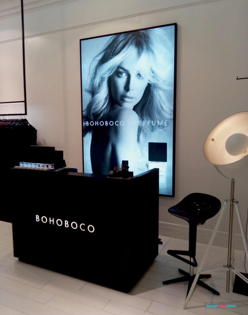 Monochrome fashion boutique interior